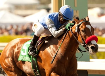 Goldencents and Kevin Krigger win the Grade I $750,000 Santa Anita Derby Saturday, April 6, 2013 at Santa Anita Park, Arcadia, CA.  ©Benoit Photo