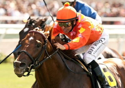 Tom's Tribute and jockey Mike Smith win the Grade I $300,000 Eddie Read Stakes Sunday, July 20, 2014 at the Del Mar Thoroughbred Club, Del Mar, CA.