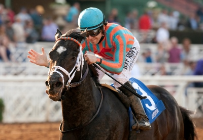 Conquest Two Step and jockey Joe Talamo win the Grade II $200 Palos Verdes Stakes Saturday, January 31, 2015 at Santa Anita Park, Arcadia, CA. ©Benoit PHoto