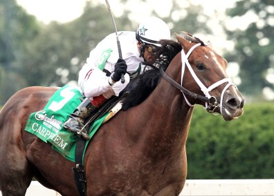 CARPE DIEMThe Claiborne Breeders' Futurity Gr I - 101st RunningKeenland Race Course   Lexington, KentuckyOctober 4, 2014Purse $500,0001-1/16 Miles  1:43.38WinStar Farm, LLC & Stonestreet Stables, LLC, OwnersTodd A. Pletcher, TrainerJohn Velazquez, JockeyMr. Z (2nd)Bold Conquest (3rd)$6.80  $5.00  $4.00Please Give Photo Credit To:  / Coady Photography