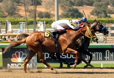 Kaleem Shah's Declassify and jockey Martin Garcia, inside, outleg Cyclometer (Edwin Maldonado), outside, to win the Grade I, $300,000 Triple Bend Stakes, Saturday, June 28, 2014 at Santa Anita Park, Arcadia CA. © BENOIT PHOTO