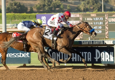 Speedway Stable's Noted and Quoted and jockey Rafael Bejarano,    right,  overpower With Honors (Flavien Prat), left, to win the Grade I, $300,000 Chandelier Stakes, Saturday, October 1, 2016 at Santa Anita Park, Arcadia CA. © BENOIT PHOTO